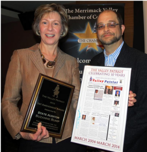 Massachusetts State Auditor Suzanne Bump received The Valley Patriot's 1st Amendment Award for her work in demanding government accountability and exposing millions of dollars of fraud in the state's welfare department and EBT cash card program. Bump also exposed the deficiencies of more than $100 million in the state's MBTA automated fare collections system. She was attacked by members of her own party, in particular Governor Deval Patrick, but kept true to her constitutional duty by continuing to report directly to the public and standing up for her right to expose failures, fraud, waste, and abuse in state government. Auditor Bump was to receive her award last month at The Valley Patriot's 10th Anniversary BASH but was  unable to attend due to a sickness in her family.