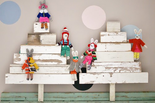 wood & wool x-mas family trees