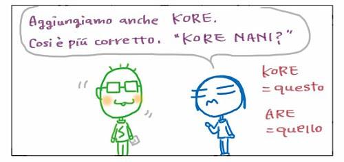 """Aggiungiamo anche KORE. Così e' più' corretto. """"KORE NANI?! KORE = questo, ARE = quello"""
