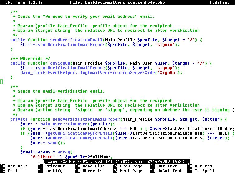 Nano text editor