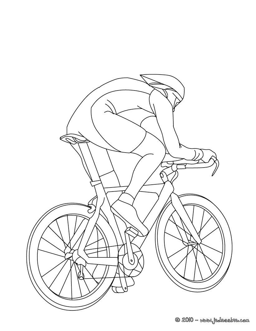 Coloriage cycliste sur VTT gratuit Coloriage VTT  imprimer
