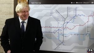Mayor of London Boris Johnson announces a new 24 hour Tube service at weekends and changes to station staffing