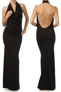 Black cowl neck evening dress