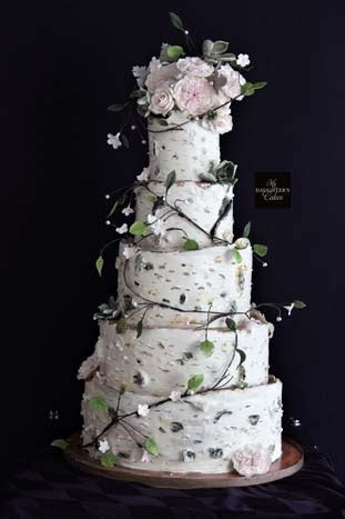 Birch Tree Wedding Cake at The Chart House   My Daughter's
