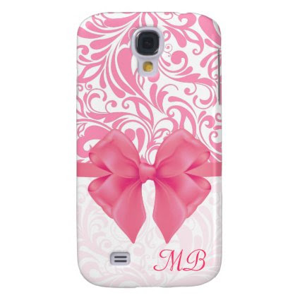 Monogrammed Pink Damask and Pink Ribbon Galaxy S4 Covers