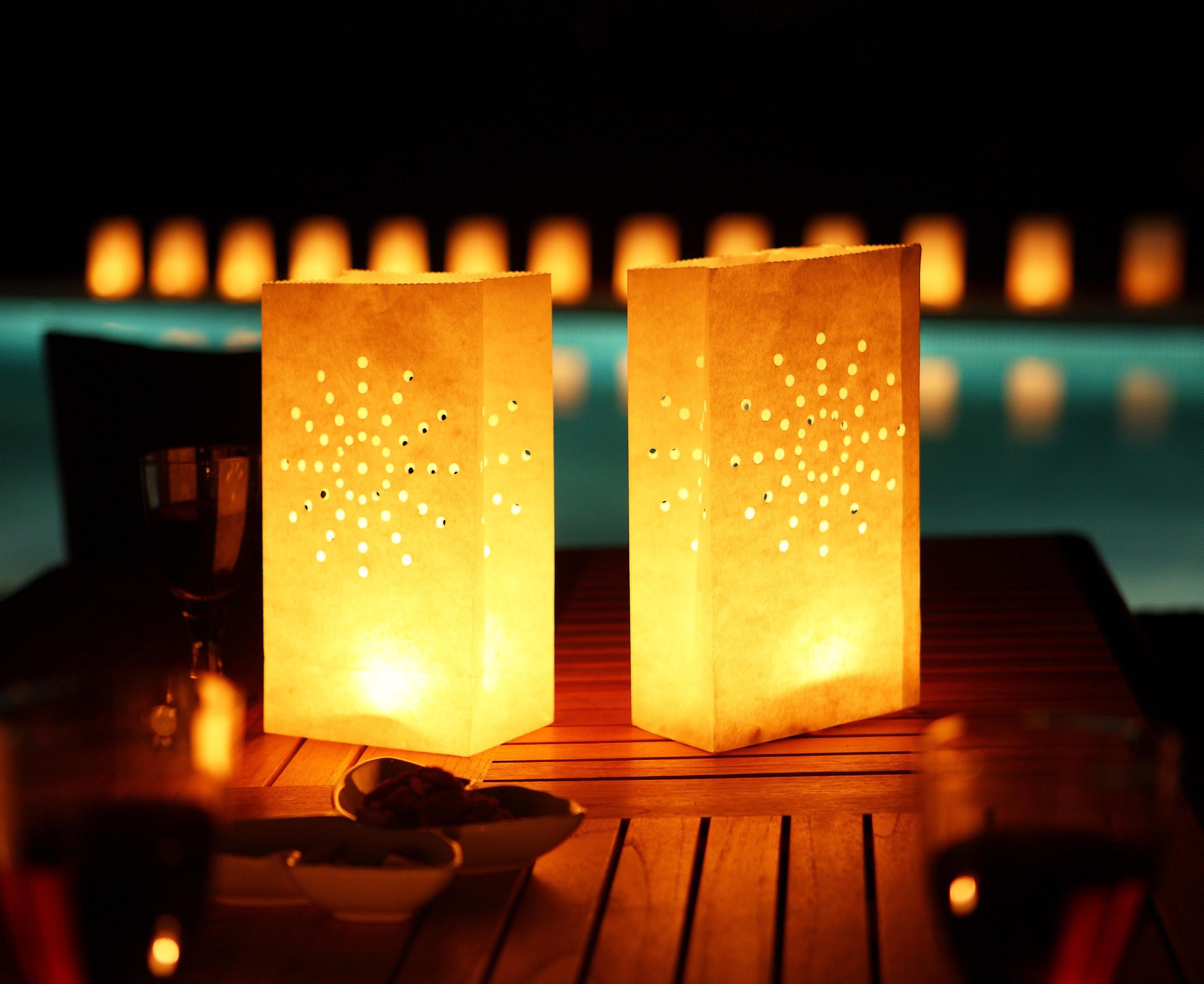 Tea Light/ Paper Candle Lantern Bags Luminaries Party | eBay