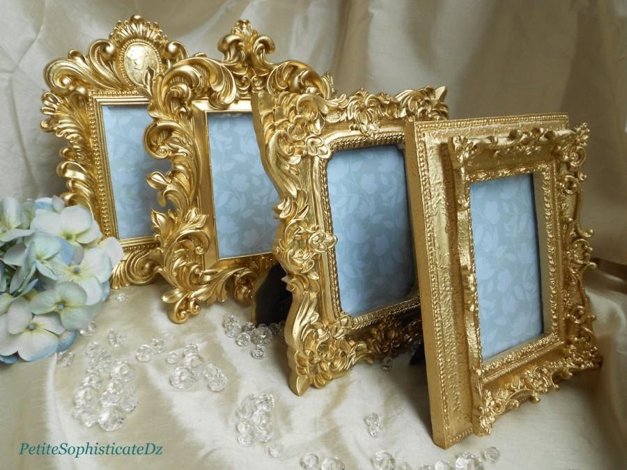 New 4 Brilliant Gold Ornate Framesfrenchbaroque Wedding Decor 4x6