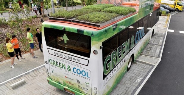 Singapore roads get public buses carrying plants on their roofs