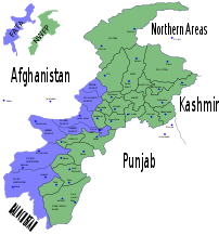 Map showing the districts of the Federally Administered Tribal Areas (FATA) FATA and the North-West Frontier Province (NWFP) of Pakistan.