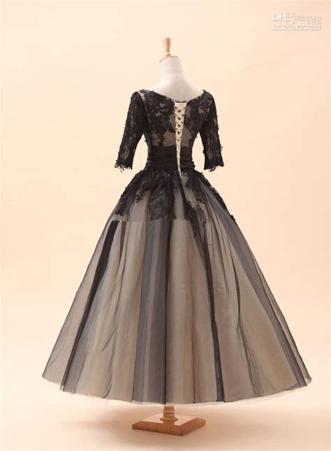 2014 Sery Black 3 4 Long Sleeves Lace Tea Length Ball Gown