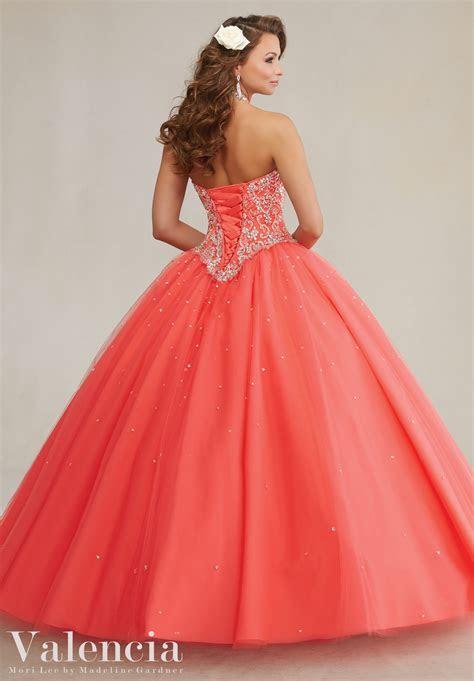 Embroidery and Beading on a Tulle Quinceanera Dress