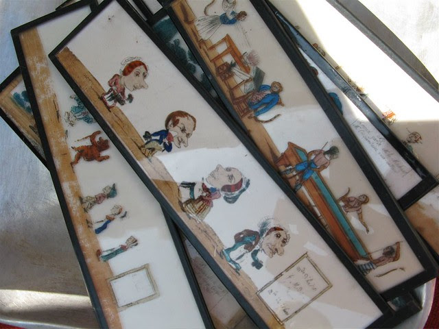 Cartoon stripes painted on glass