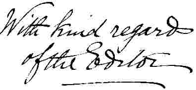 handwritten notice of the editor of the remembrancer