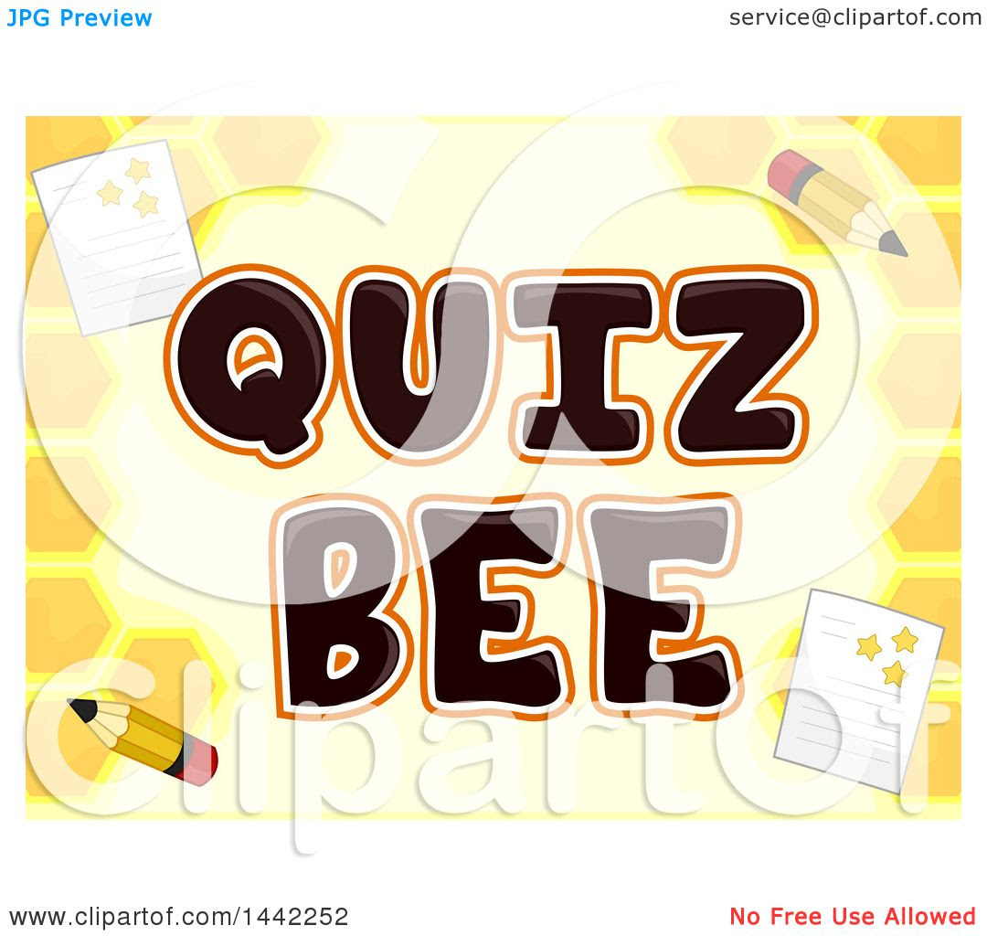 Clipart Of A Honeycomb Background With Paper And Pencils Around Quiz Bee Text Royalty Free Vector Illustration 10241442252