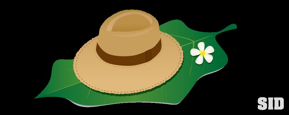 南国の大きな葉っぱの上に置かれた麦わら帽子のイラスト 無料配布
