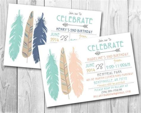 Modern Tribal Feathers Birthday Party Invitation