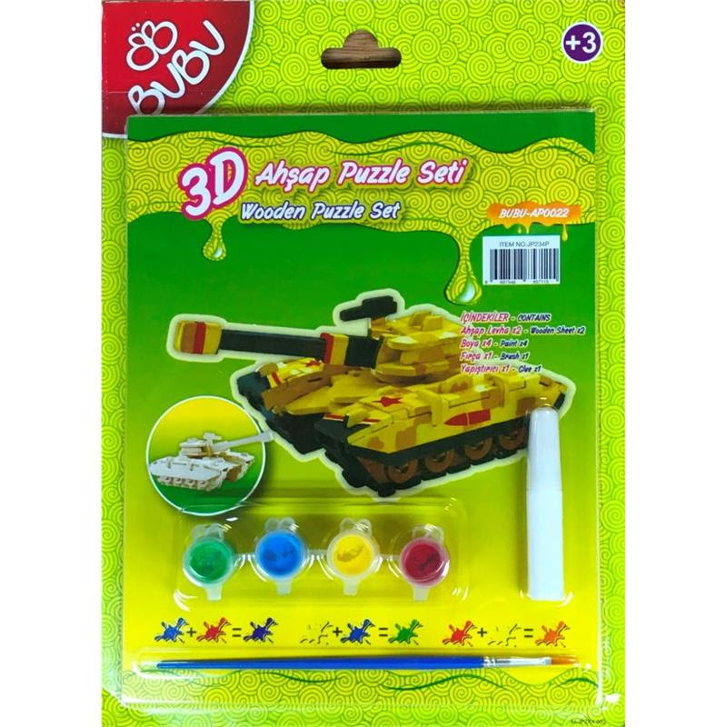 Bubu 3d Ahşap Maket Puzzle Boyama Seti Tank Bubu Bbap0022