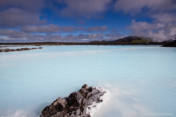 Blue Lagoon against a bright blue sky