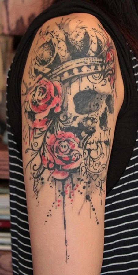 Skull With A Crown And Roses Tattoo Tattoomagz
