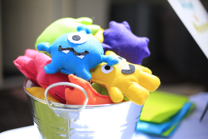 Plush monsters from a Little Monster Birthday Party on Kara's Party Ideas | KarasPartyIdeas.com (11)