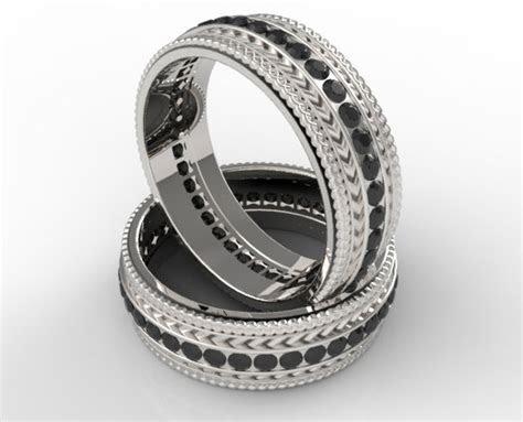 Black Diamonds Matching Rings   Vidar Jewelry   Unique