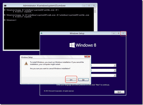 Cancel Windows installation