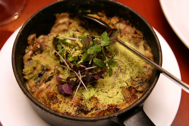 Smoked mushroom gratin, with herbed bread crumbs