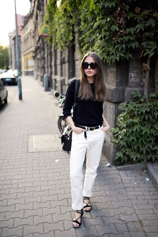 Le Fashion Blog Black Light Weight Sweater White Straight Leg Jeans Black Strappy Sandals Black Sunglasses Via Jestem Kasia