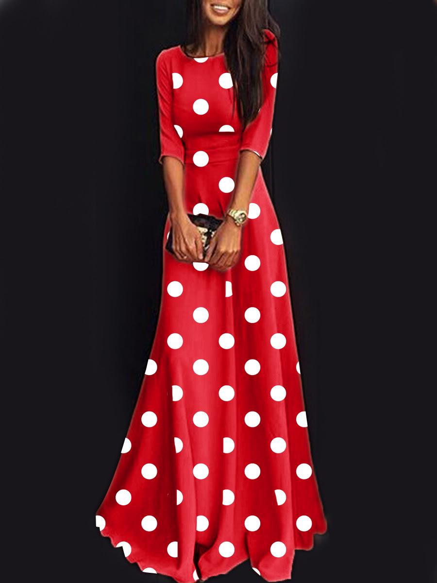 Round neck polka dot maxi dress bulk and send