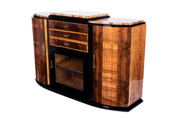 Art Deco Sideboard Credenza Showcase In Walnut With Marble Top Le Deco Style