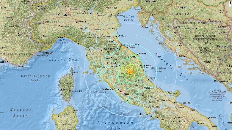 Domenica & # 39; s terremoto ha colpito 6 chilometri a nord di Norcia, secondo l'USGS