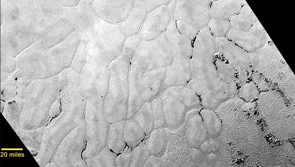An image of frozen plains, known as Sputnik  Planum, on the surface of Pluto as seen by NASA's New Horizons spacecraft on July 14, 2015.