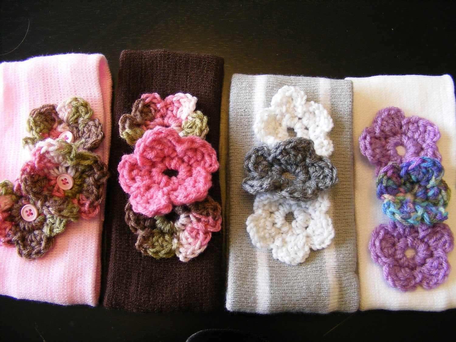 Soft Wide Head Band with a Trio of Crochetted Flowers