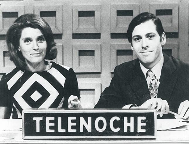 Mónica Cahen D´Anvers y Andrés Percivale en Telenoche. Foto: Gentileza Editorial Perfil
