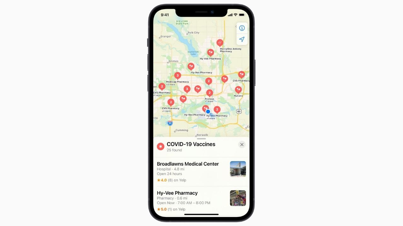 Apple Maps update is now rolling out for all users in the US. Image: Apple