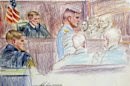 Holcomb looks on during court-martial proceedings at Fort Bragg, North Carolina in this artist's rendering