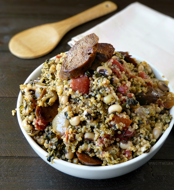 Lucky Quinoa with Black-Eyed Peas and Sausage