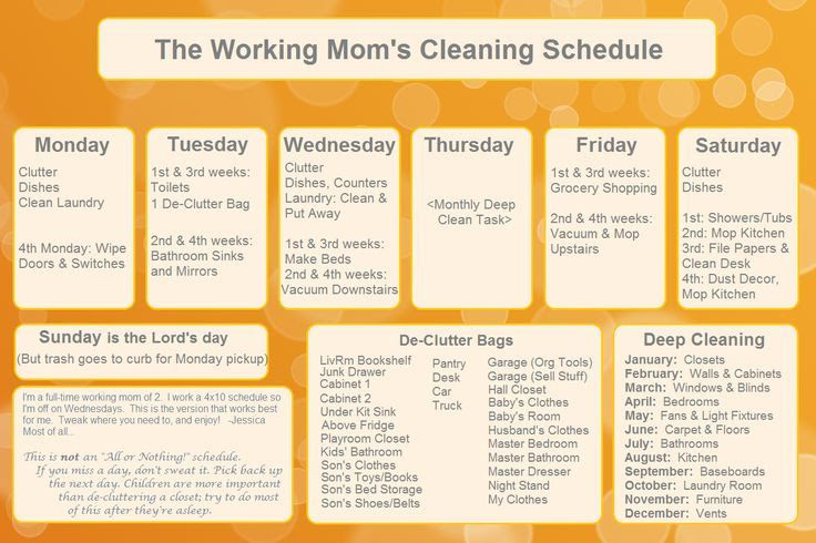 Daily Cleaning Schedule For Working Moms