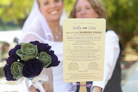 DIY Wedding Program Fans (lesbian wedding LGBT) photo by
