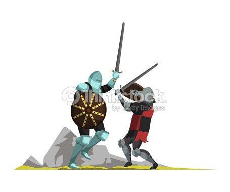 中世の戦士フラットベクトルイラスト ベクトルアート Thinkstock