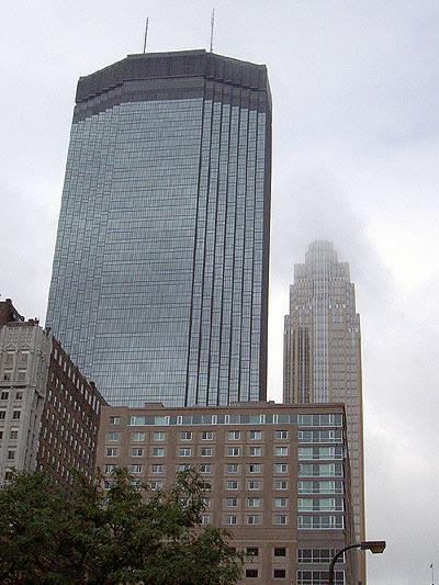 Minneapolis buildings in rainclouds