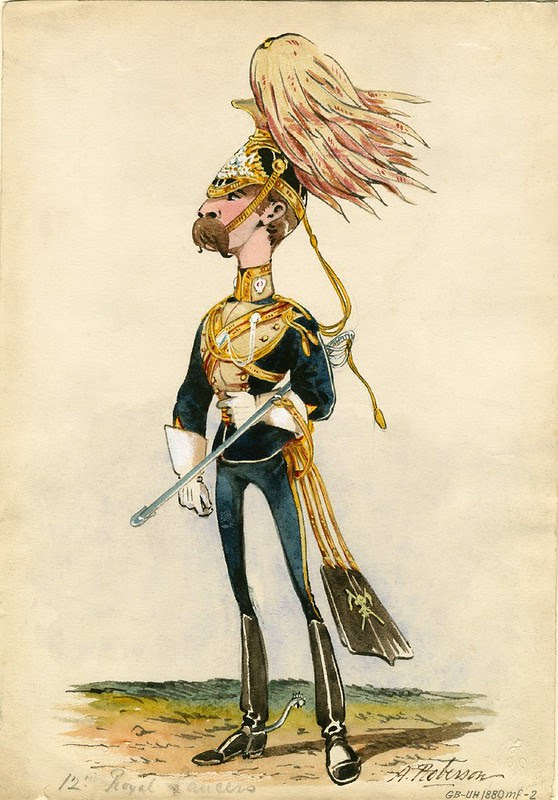 musthachioed caricature painting of English soldier in uniform 19th c.