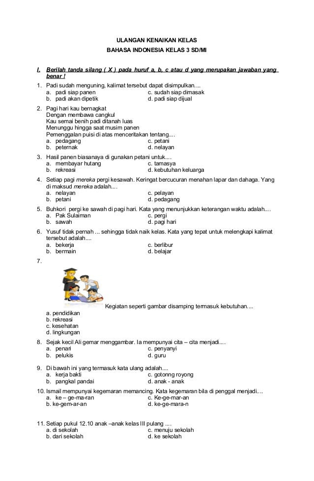 Ulangan Kenaikan Kelas Bahasa Indonesia Kelas 3