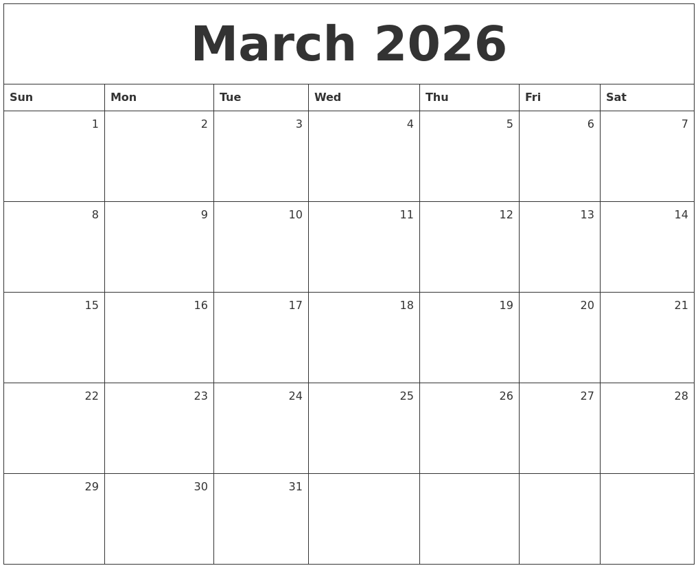 march 2026 monthly calendar