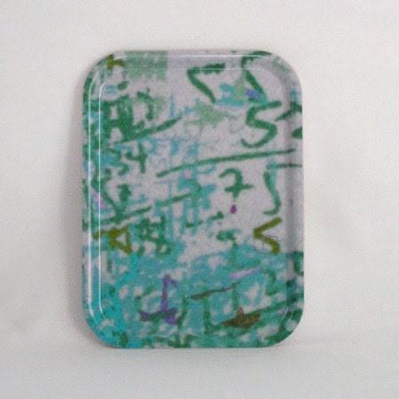 little wood Tray - wood  platter - melamine tray - rectangular in aqua - Birribe