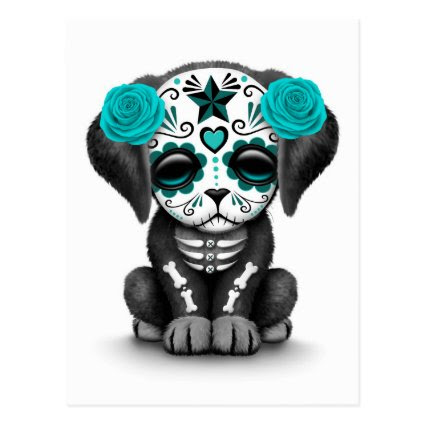 Cute Blue Day of the Dead Puppy Dog White Postcards