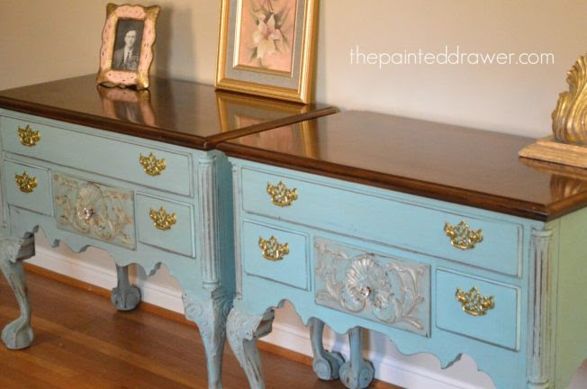 Brass & Blue French Henredon Tables - The Painted Drawer