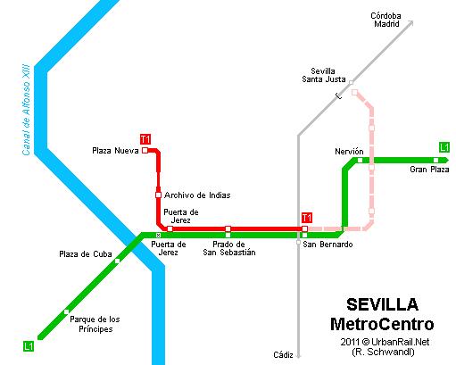 Sevilla: mapa de tranvías. Mapa imprimido de rutas de ...