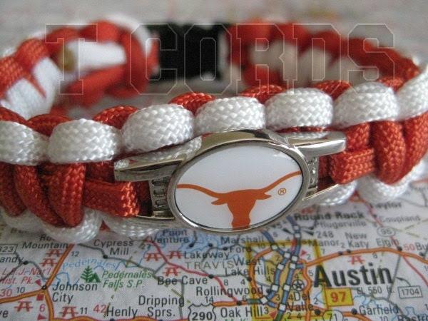 Handmade Texas Longhorns Middle Weight Paracord Bracelet