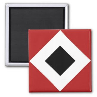 Red, White, Black Diamond Pattern Refrigerator Magnet